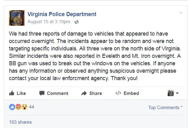 © Police plea on Facebook asking public to help them solve crimes.