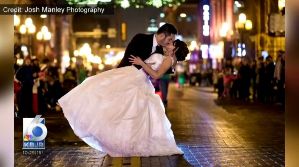 Newlyweds share magical moment at Christmas City of the North parade