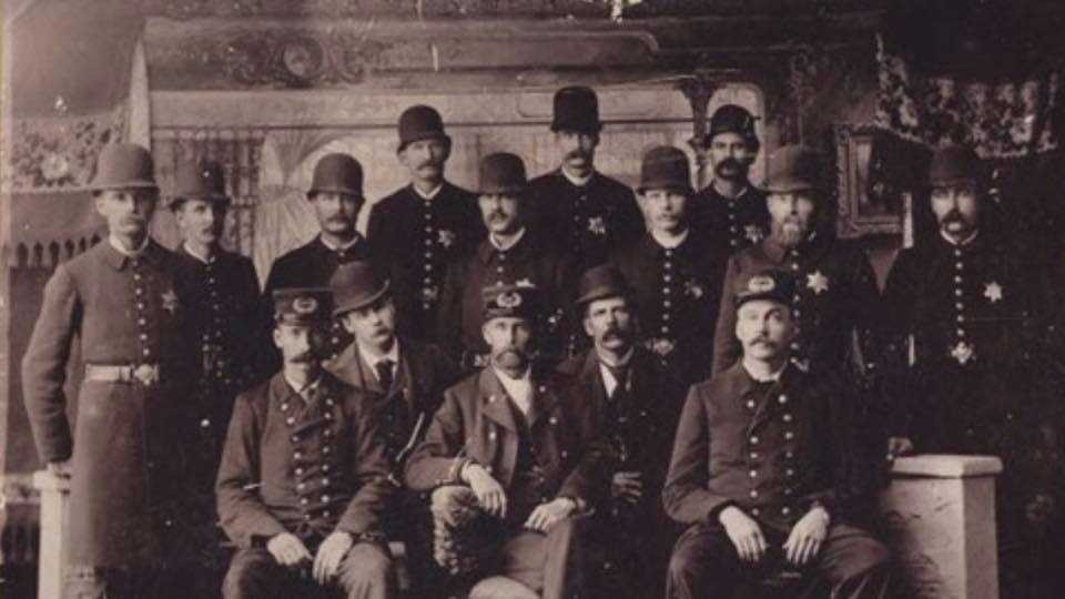 Officers with the Duluth Police Department pose for a photo in 1892.  Credit: Minnesota Historical Society