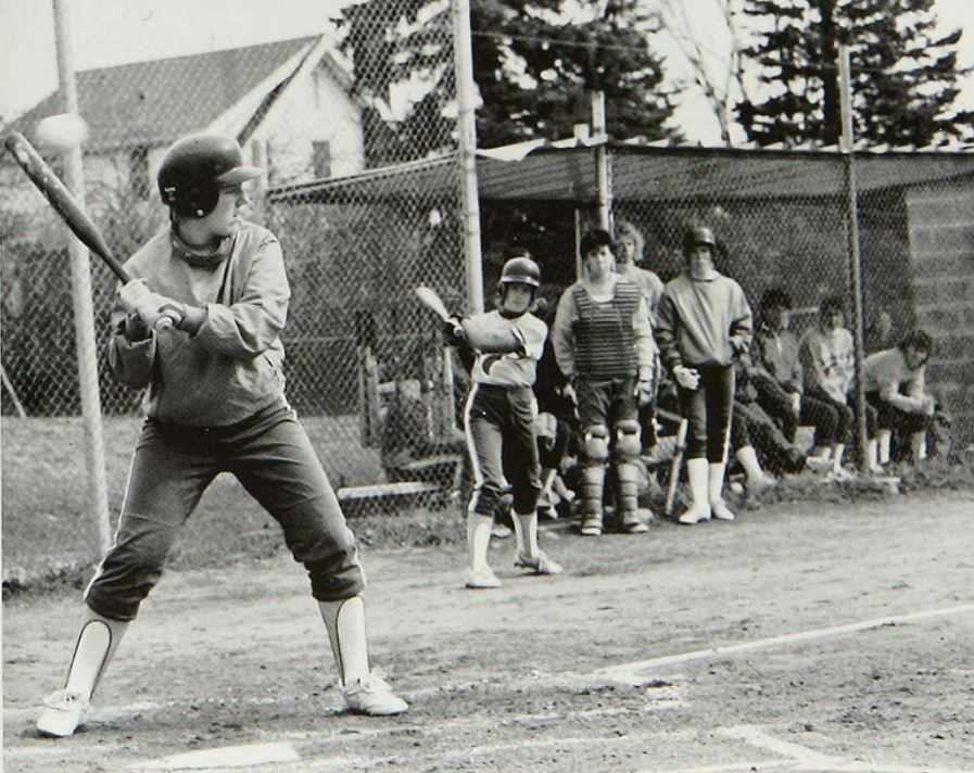 Sister Mary Jo Sobieck at bat during her college career at CSS. Credit: College of St. Scholastica